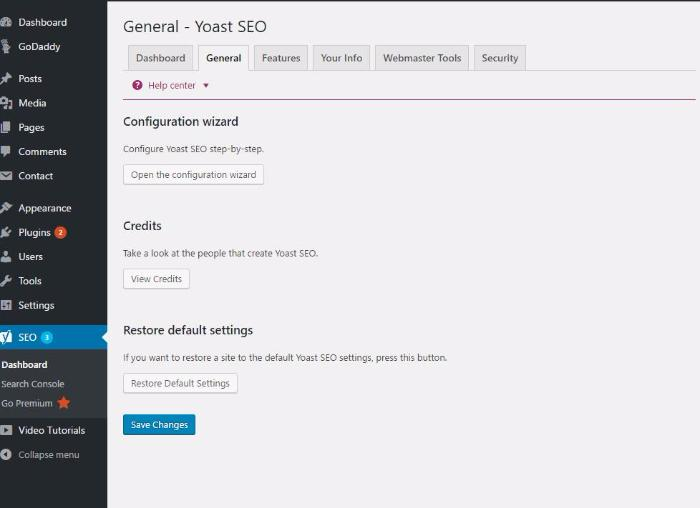 yoast general settings